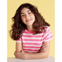 M&S Girls Cotton Merci Slogan Striped Ribbed T-Shirt (6-14 Yrs) - 7-8 Y - Pink Mix, Pink Mix