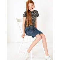 Pure Cotton Denim Zip Front Skirt (3-16 Years)