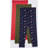 3 Pack Cotton Rich Leggings With Stretch (3-16 Years)