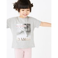 Cotton rich Ballerina Sequin Slogan T-Shirt (2-7 Years)