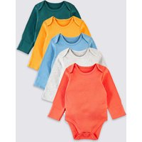 5 Pack Organic Pure Cotton Ribbed Bodysuits