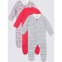 3 Pack Organic Pure Cotton Sleepsuits