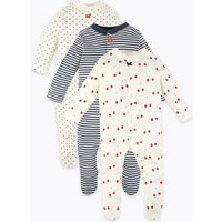 3 Pack Organic Cotton Sleepsuits (0 Month - 3 Years)