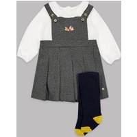 Autograph 3 Piece Pinafore & Bodysuit with Tights Outfit