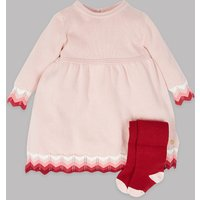 Autograph 2 Piece Knitted Dress & Tights Outfit