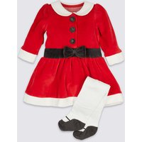 2 Piece Velour Mrs Clause dress With Tights
