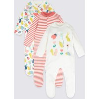 3 Pack Pure Cotton Bunny Sleepsuits
