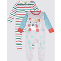2 Pack Pure Cotton Hanging Sleepsuits