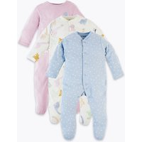 3 Pack Organic Cotton Dinosaur Sleepsuits (5lbs-36 Months)