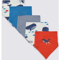5 Pack Organic Cotton Whale Dribble Bibs