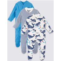 3 Pack Organic Pure Cotton Whale Sleepsuits