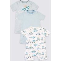 3 Pack Organic Cotton Transport Rompers