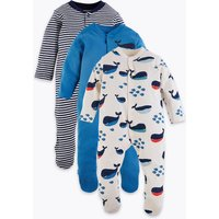 3 Pack Organic Cotton Nautical Sleepsuits (6½lbs-3 Yrs)