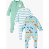 3 Pack Organic Cotton Fish Sleepsuits (6½lbs-3 Yrs)
