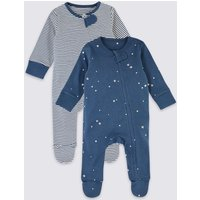 2 Pack Pure Cotton Striped & Star Print Sleepsuits