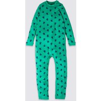 Easy Dressing Pure Cotton Star Print Sleepsuit (3-16 Years)