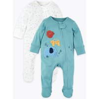 2 Pack Pure Cotton Patterned Sleepsuits