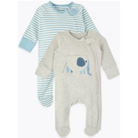 2 Pack Striped & Elephant Print Sleepsuits