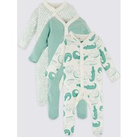 3 Pack Pure Cotton Animal Print Sleepsuits