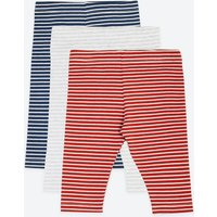 3 Pack Cotton Striped Print Leggings (0-3 Yrs)