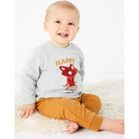 2 Piece Organic Cotton Jersey Fox Top & Bottom Outfit