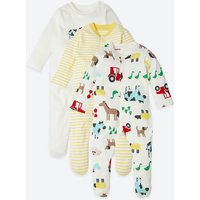 3 Pack Organic Pure Cotton Farmyard Print Sleepsuits