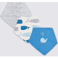 3 Pack Pure Cotton Whale Dribble Bibs