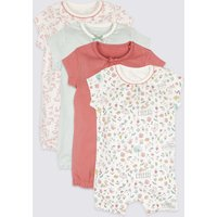 4 Pack Pure Cotton Floral Print Rompers