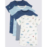 4 Pack Pure Cotton Printed Rompers