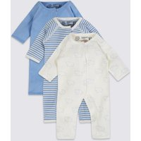 Easy Dressing 3 Pack Premature Pure Cotton Sleepsuits