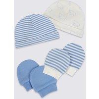 Easy Dressing 4 Piece Pure Cotton Premature Hat & Mittens Set
