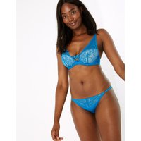 Autograph Satin and Lace Padded Plunge Bra A-E