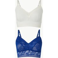 M&s Collection 2 Pack Lace Embroidered Non-padded Bralets