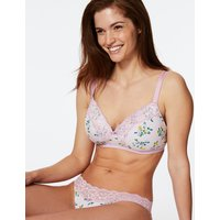 M&S Collection Floral Print Padded Non-Wired Plunge Bra A-E