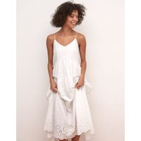 M&S Nobody'S Child Womens Pure Cotton Broderie Maxi Smock Dress - 16 - White, White