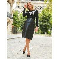 MandS Sosandar Womens Leather Belted Knee Length Skirt - 8 - Black, Black
