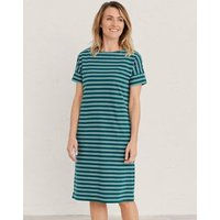 M&S Seasalt Cornwall Womens Organic Cotton Jersey Striped Shift Dress - 14 - Teal, Teal