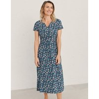 MandS Seasalt Cornwall Womens Organic Cotton Floral Midi Wrap Dress - 18 - Blue, Blue