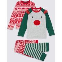 2 Pack Reindeer Face Pyjamas (1-7 Years)