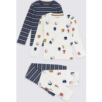 2 Pack Cotton Striped & Numbers Pyjama Set (1-7 Years)