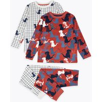 2 Pack Cotton Dinosaur Print Pyjama Set (1-7 Years)