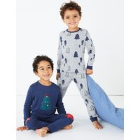 2 Pack Christmas Tree Print Pyjama Set (1-7 Years)