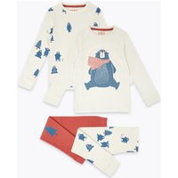2 Pack Cotton Polar Bear Print Pyjama Set (1-7 Years)