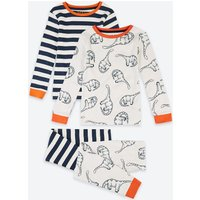2 Pack Cotton Dinosaur & Stripe Print Pyjama Set (1-7 Years)