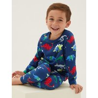 M&S Boys Pure Cotton Dinosaur Pyjamas (1-7 Yrs) - 1+-2Y - Multi, Multi