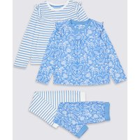 2 Pack Floral Striped Pyjamas (1-7 Years)