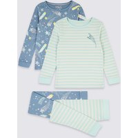 2 Pack Cotton Star Print Pyjama Set (1-7 Years)