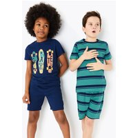 2 Pack Cotton Skateboard Short Pyjama Sets (6-16 Years)