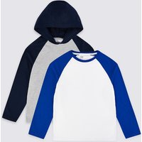 2 Pack Cotton Raglan Sleeve Tops (3-16 Years)