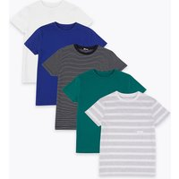 5 Pack Easy Dressing Pure Cotton Striped T-Shirts (1-16 Years)